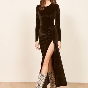 Reformation black velvet ruby dress
